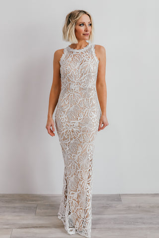 Taurus White Lace Column Dress