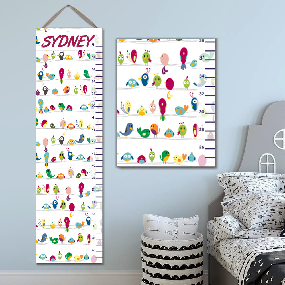 Personalized Cute Birds Growth Chart