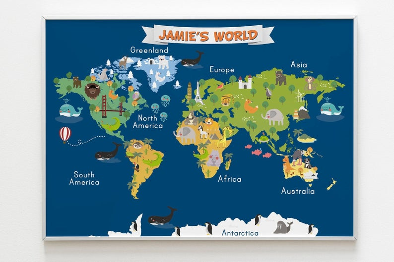 Personalized Animal World Map for Kids Room