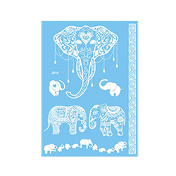 White Henna Transfer Tattoos - Elephant