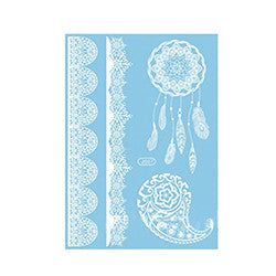 White Henna Transfer Tattoos - Dreamcatcher