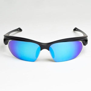 navy blue frames with mirror blue lenses
