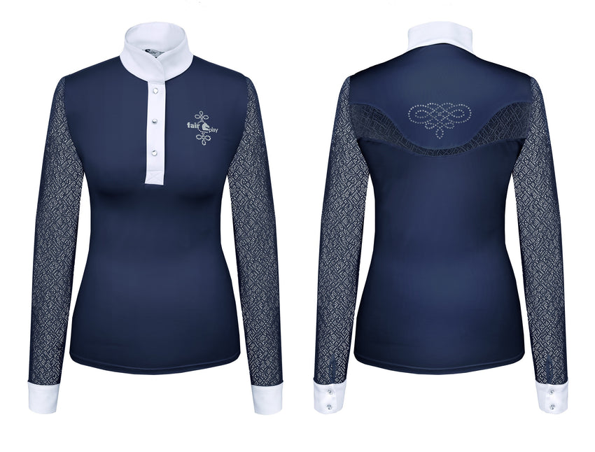 Navy elegant show shirt with crystal applique