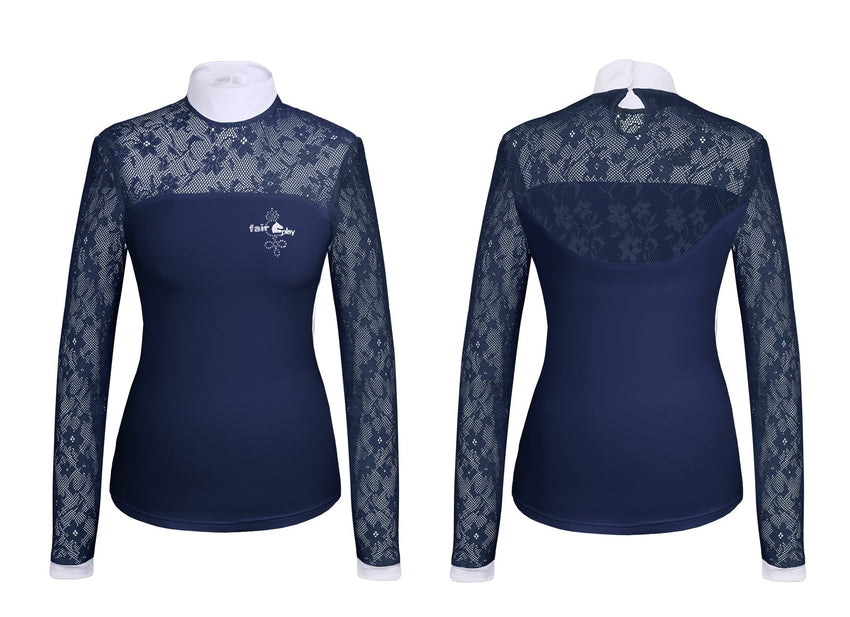 Navy Long Sleeve Lace Show Shirt