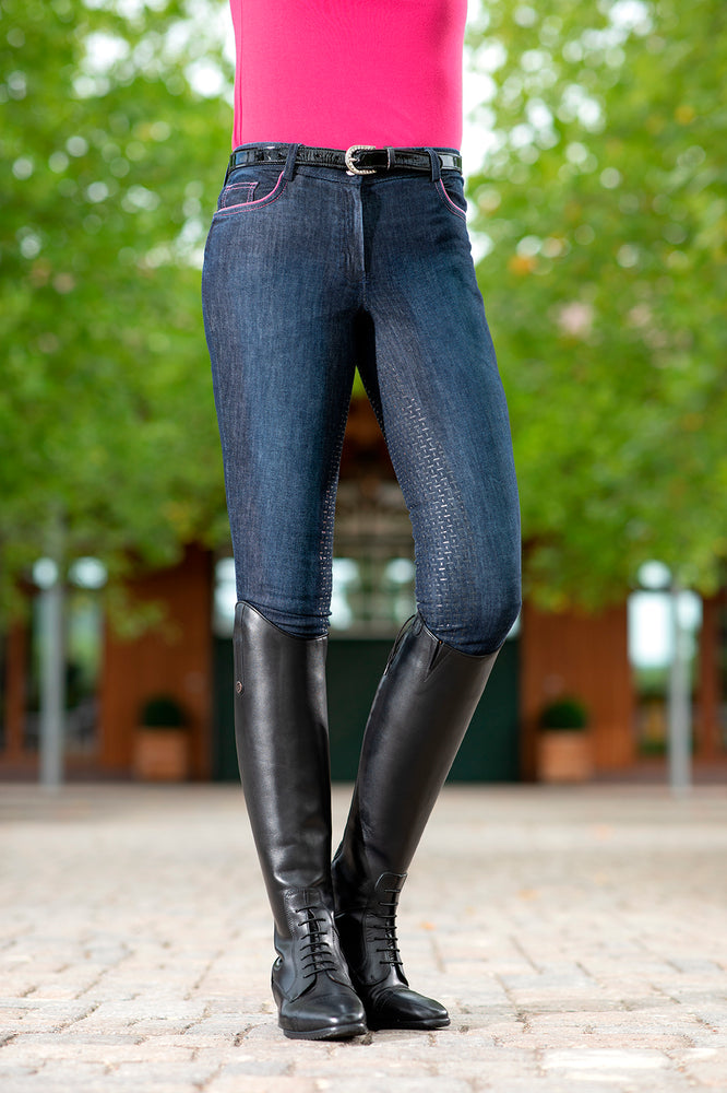Ladies Breeches Active 19 Denim with Full Silicone Seat