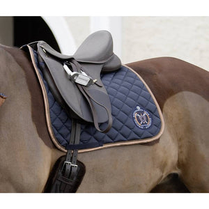 Navy and gold saddle blanket