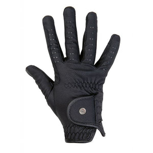 Black artificial leather riding gloves Design
