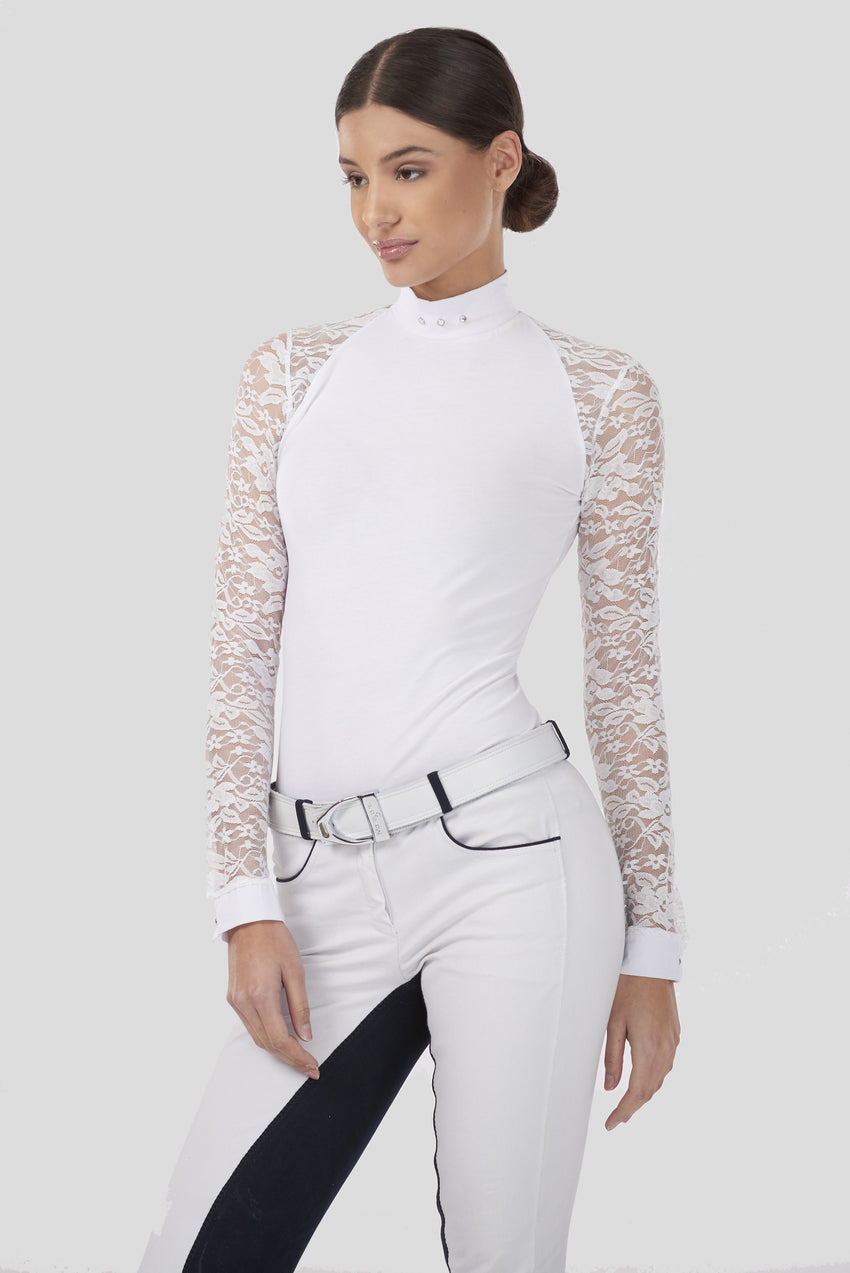 Long Sleeve Lace Riding Shirt