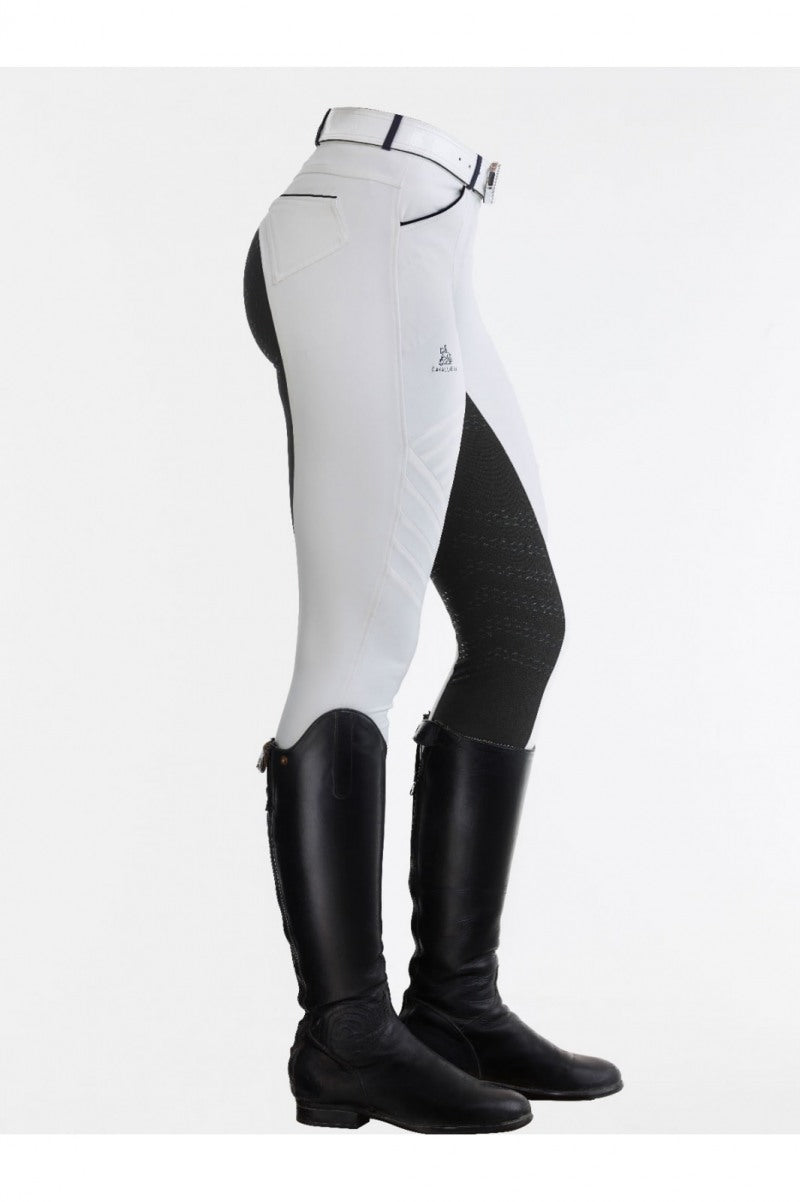 White competition breeches with coloured seat