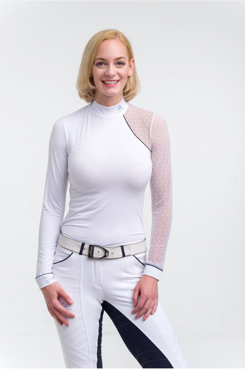 White competition shirt for equestrian women
