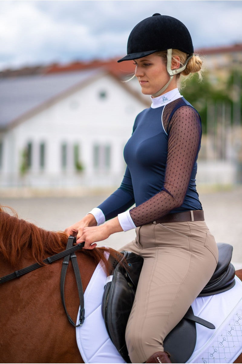 Blue competition shirt for equestrian women