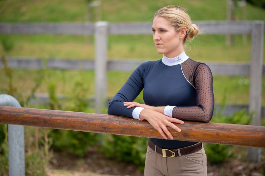 Cavalliera black navy white bordeaux show shirt competition shirt equestrian women apparel horses