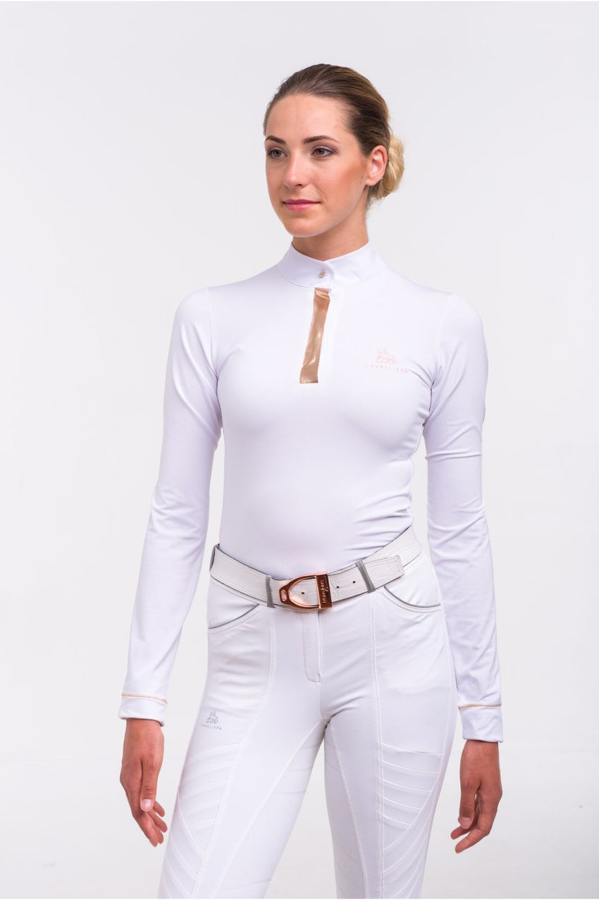 White Dressage Shirt with Rose Gold