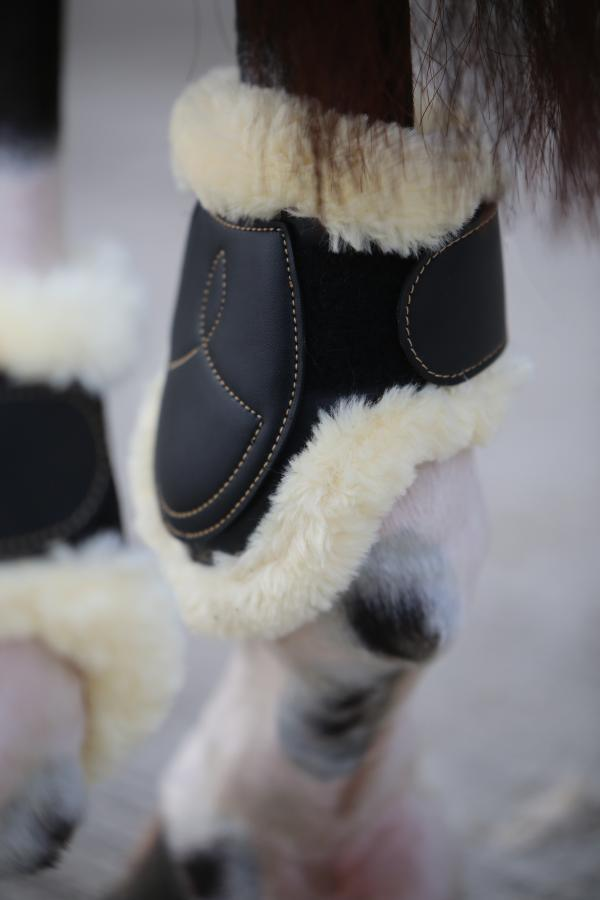 Young Horse approved sheepskin fetlock boots