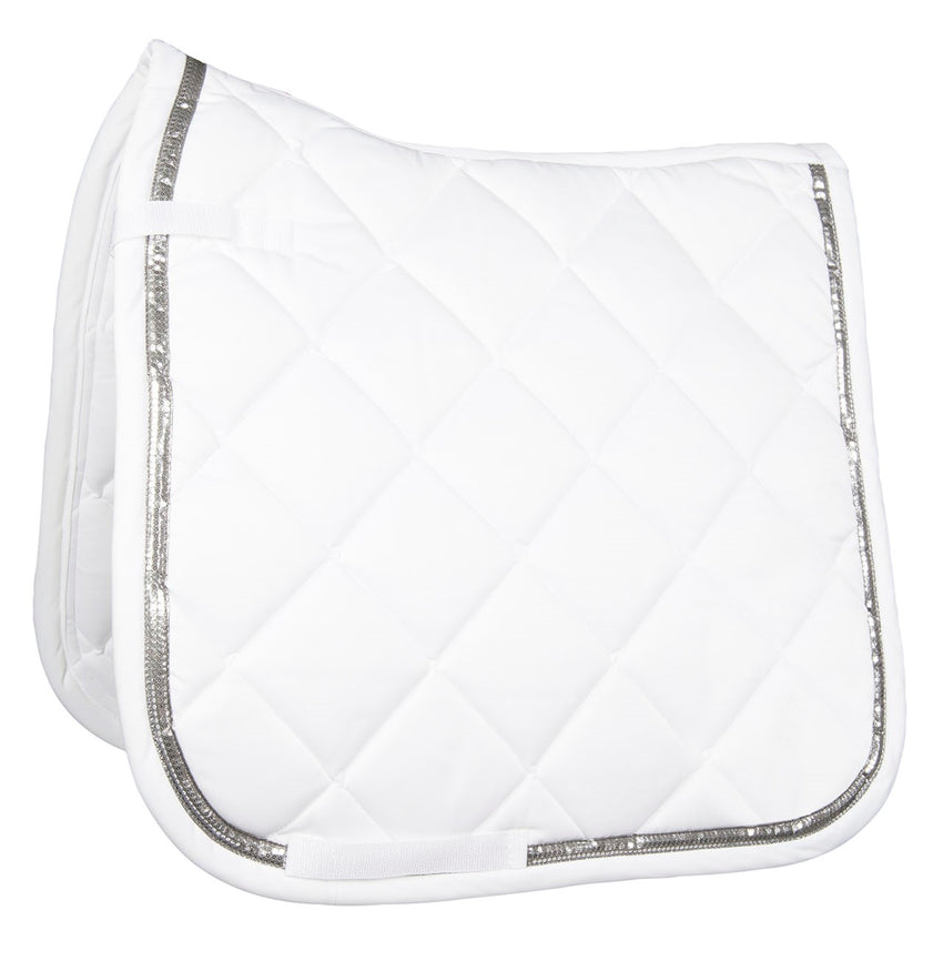 White Dressage Saddle Blanket with bling