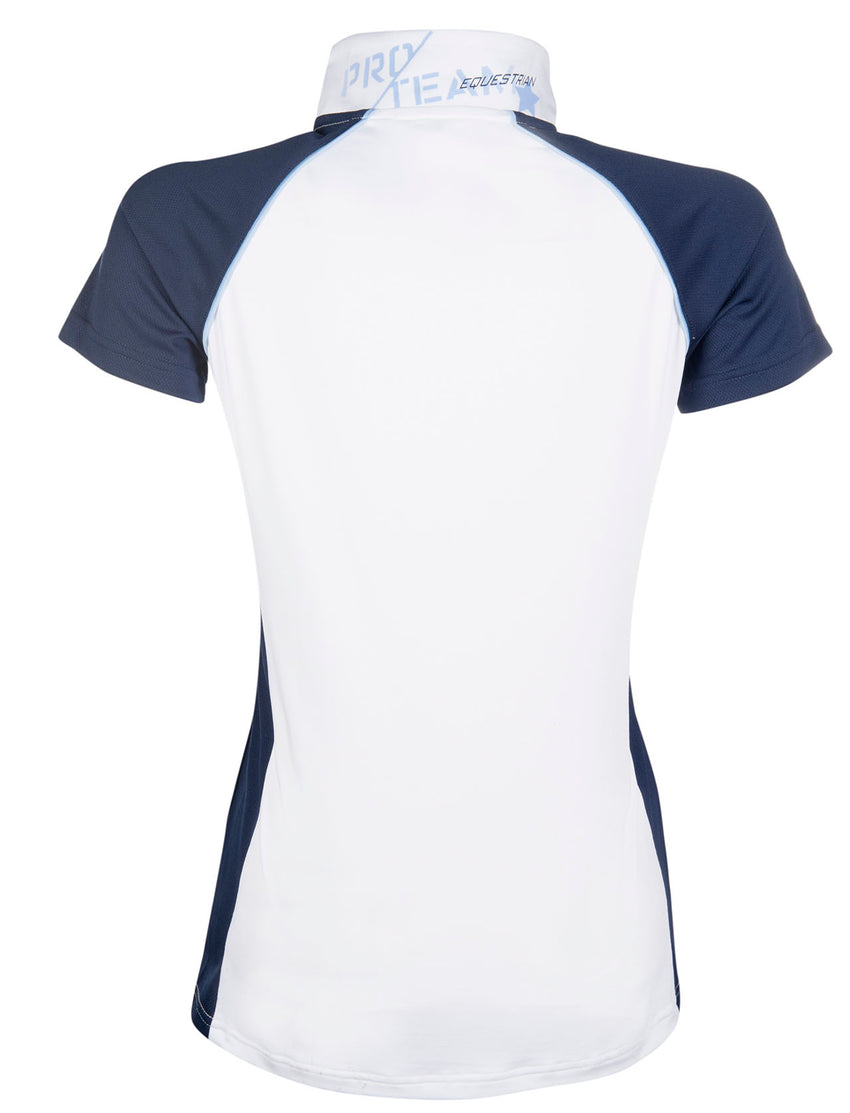 White and navy show shirt