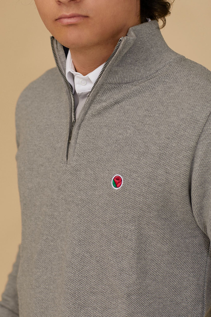 Grey Men's Zip Front Sweater