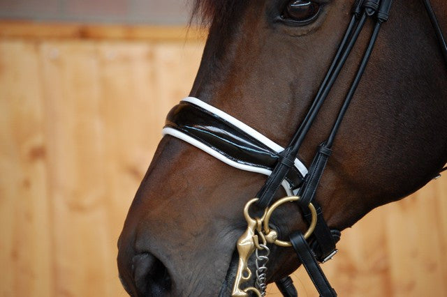 Black/White Patent Leather Double Bridle