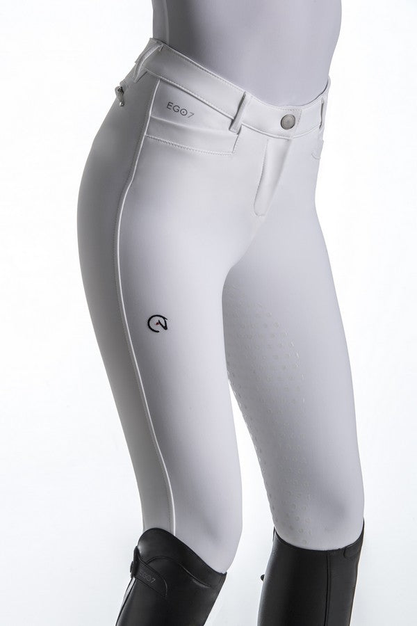 White Competition Breeches with Full Seat