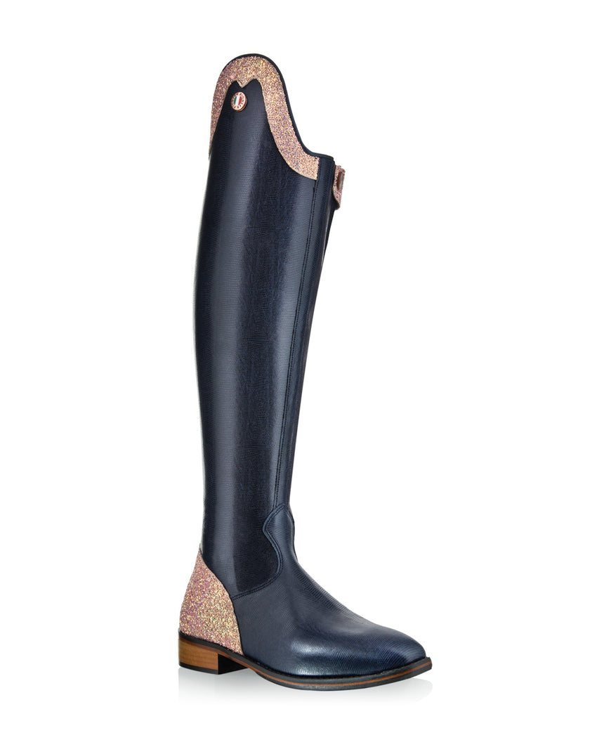 Navy Dressage Boots with Rose Gold