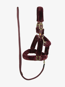 Burgundy faux sheepskin halter