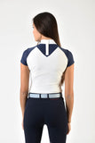 Navy and white competition shirt