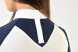 Navy and white ladies show shirt