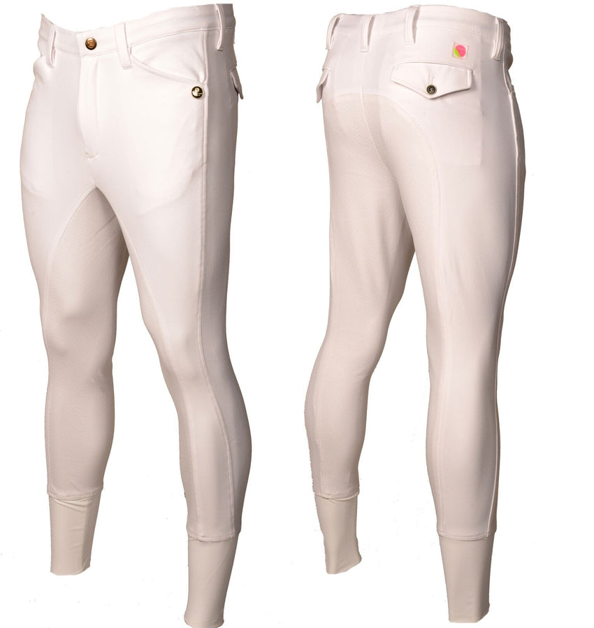 Full Silicone Seat White Men's Breeches