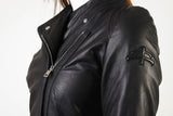 Womens Black Leather Jacket with side zip