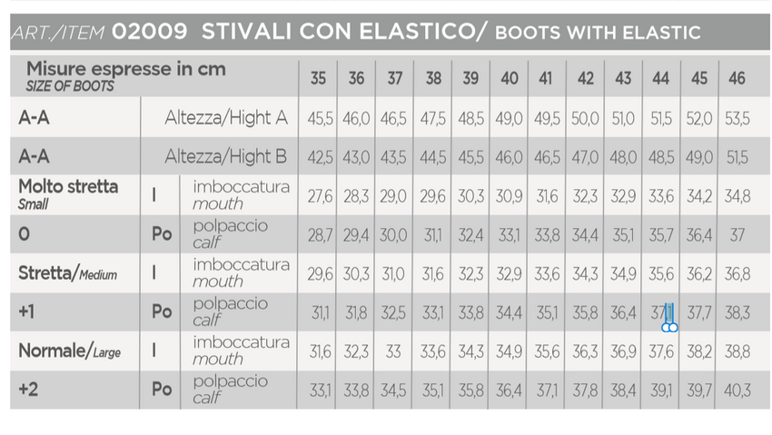 Pioneer Boots Size Chart