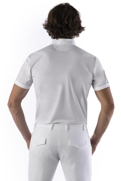 Mens White Dressage Short Sleeve Show Shirt