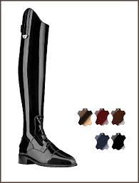Patent leather field boots