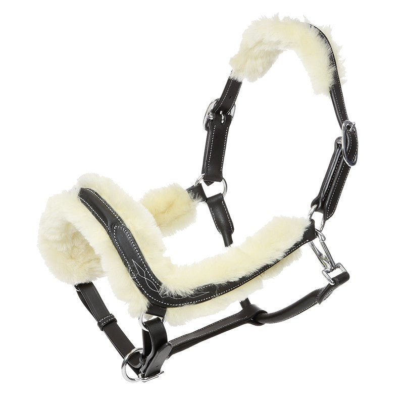 Ivy Leather Halter with Sheepskin