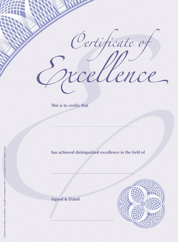 Certificate of Excellence (25 Pack - A4) - Learning Roots