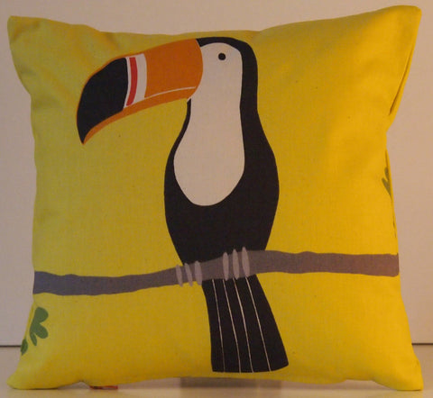 "Scion Terry Toucan Tangerine/Charcoal/Maize Fabric. 12"" (30cm) Cushion Cover - Jessica Anna Home"