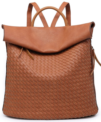 Tan Weave Backpack