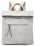 Pale Grey Casual Foldover Backpack
