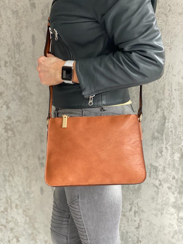 Tan Triple Zip Crossbody Bag