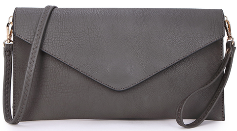 Dark Grey Envelope Clutch