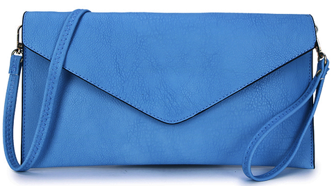 Bright Blue Envelope Clutch Bag