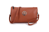 Large Tan Crossbody Clutch Emblem Bag