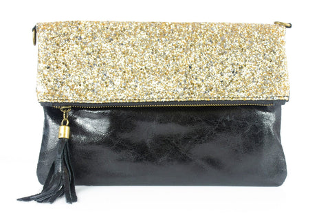 Gold & Black Leather Glitter Clutch Bag