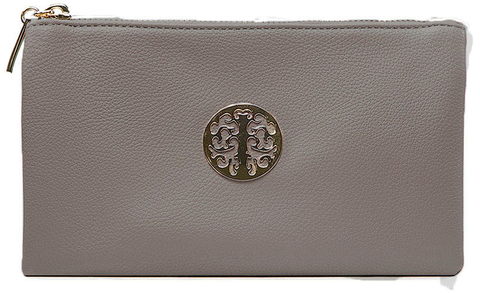 Small Dark Grey Crossbody Clutch Emblem Bag