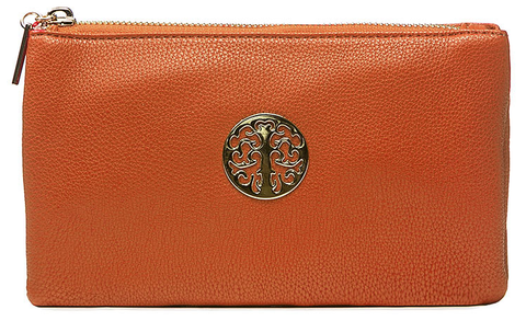 Small Tan Crossbody Clutch Emblem Bag