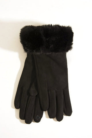 Black Faux Fur Trim Gloves