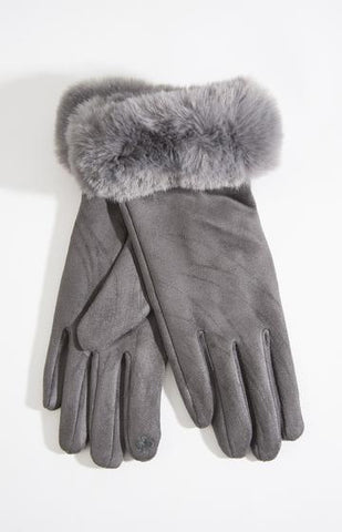 Dark Grey Faux Fur Trim Gloves