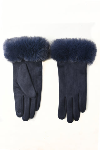 Navy Faux Fur Trim Gloves