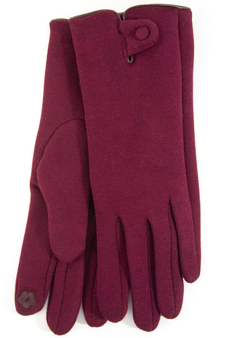 Burgandy Button Detail Gloves