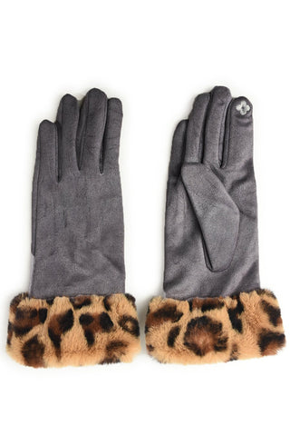 Dark Grey Leopard Faux Fur Trim Gloves