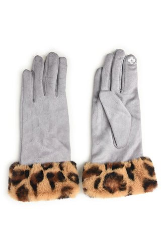 Pale Grey Leopard Faux Fur Trim Gloves